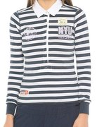 CHAMPION Long Sleeve Polo T-Shirt (W) 104683-DNB/WHT