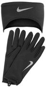 NIKE MEN'S RUNNING DRI-FIT HEADBAND/GLOVES SET L BLACK/SILVER N.RC.02.001