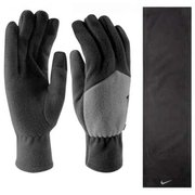 NIKE SPORT FLEECE TECH GLOVES & SCARF SET BLACK/LIGHT ASH N.WC.30.035
