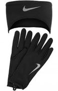 NIKE WOMEN'S RUNNING DRI-FIT HEADBAND/GLOVES SET M BLACK/SILVER N.RC.03.001